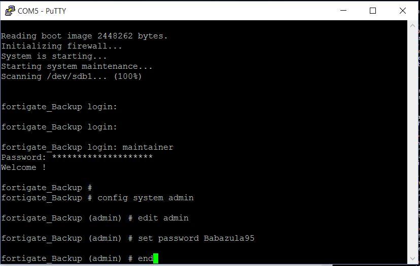 Fortigate Firewall Super Admin Şifresi Değiştirme