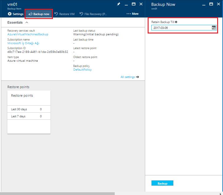 Microsoft Azure Virtual Machine Backup