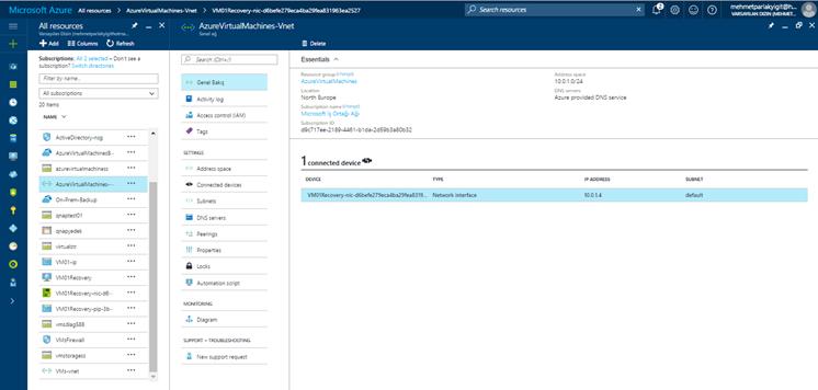 Microsoft Azure Virtual Machine Restore
