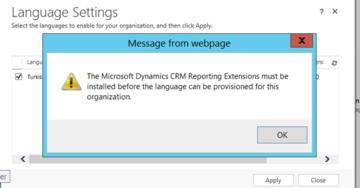 Microsoft Dynamics 2016 Dil Paketi Yüklenirken Alınabilecek Muhtemel Hatalar ve Çözümleri