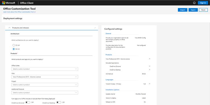 Office Customization Tool ile Office 365 ProPlus, Business